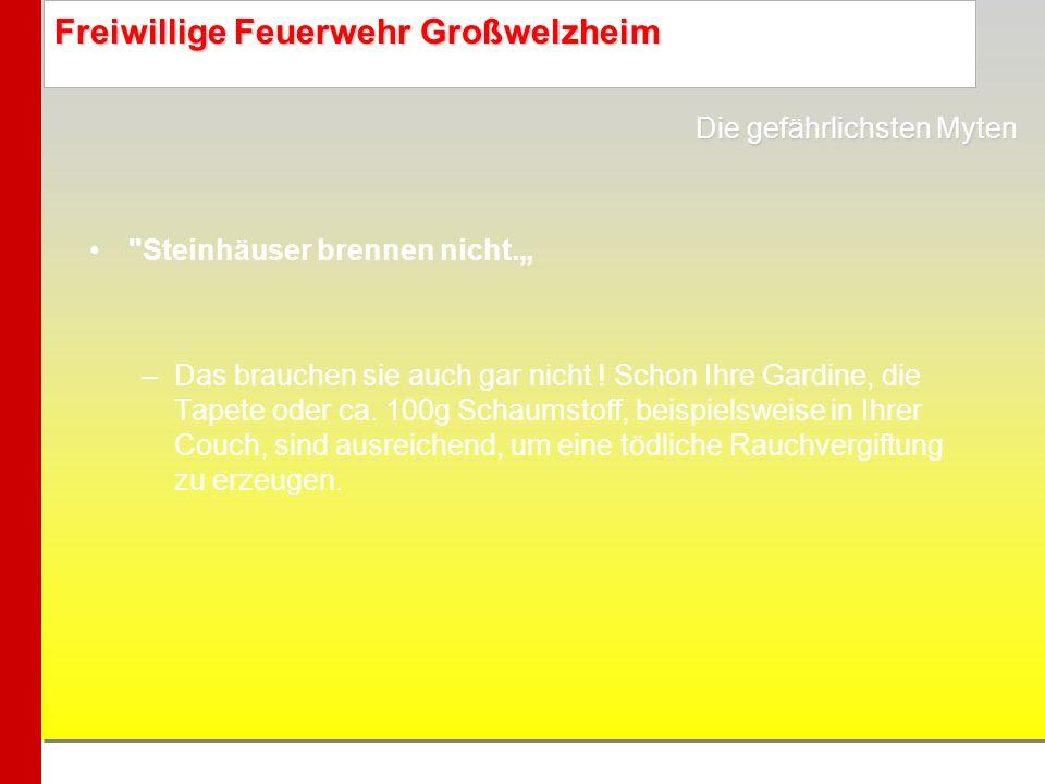 Freiwillige Feuerwehr Großwelzheim Manche ungeprüften Billiggeräte schlagen erst bei einer Rauchkonzentration von 30% Alarm: im Ernstfall also viel zu spät.