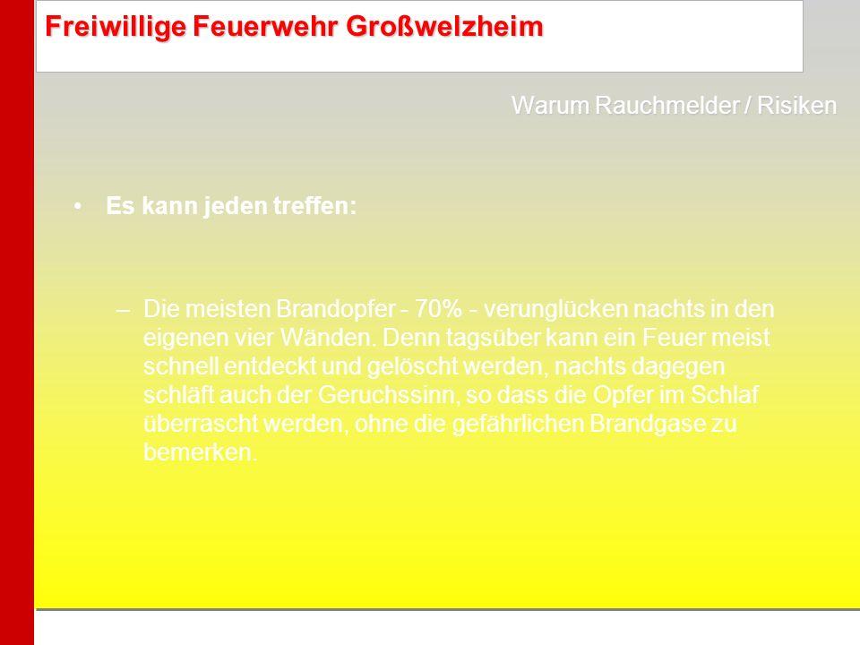 Freiwillige Feuerwehr Großwelzheim Es kann jeden treffen: –Die meisten Brandopfer - 70% - verunglücken nachts in den eigenen vier Wänden. Denn tagsübe