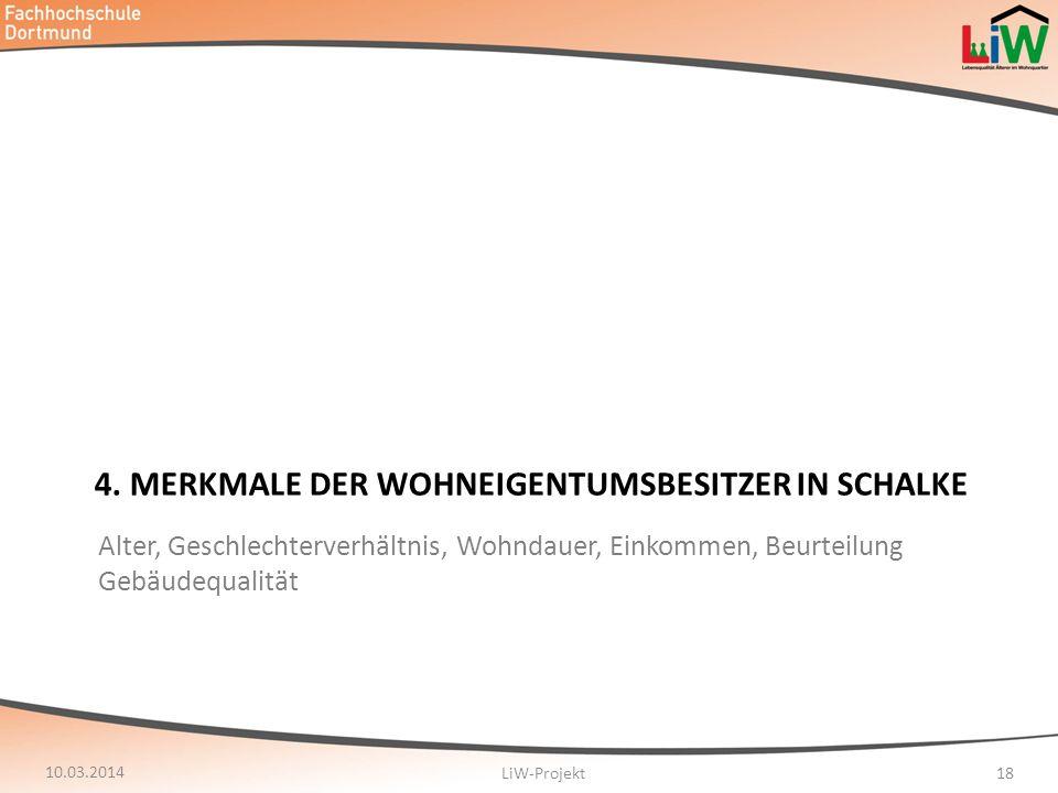 4. MERKMALE DER WOHNEIGENTUMSBESITZER IN SCHALKE 10.03.2014 LiW-Projekt18 Alter, Geschlechterverhältnis, Wohndauer, Einkommen, Beurteilung Gebäudequal