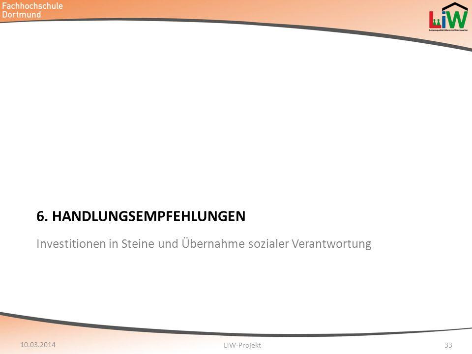 6. HANDLUNGSEMPFEHLUNGEN 10.03.2014 LiW-Projekt33 Investitionen in Steine und Übernahme sozialer Verantwortung