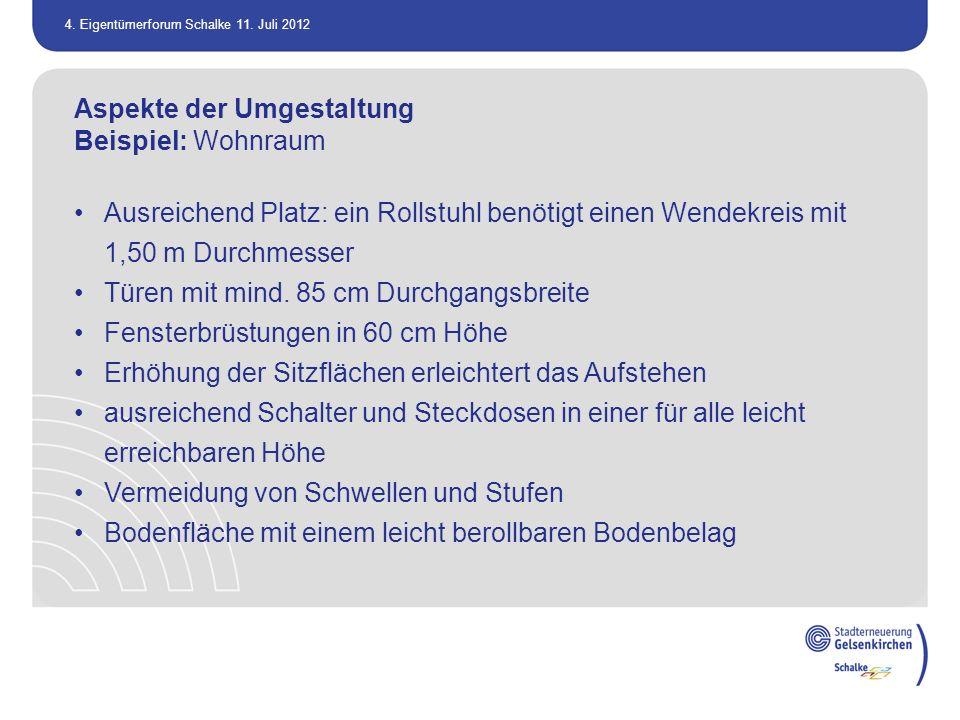 4. Eigentümerforum Schalke 11. Juli 2012 Aspekte der Umgestaltung Beispiel: Wohnraum Ausreichend Platz: ein Rollstuhl benötigt einen Wendekreis mit 1,