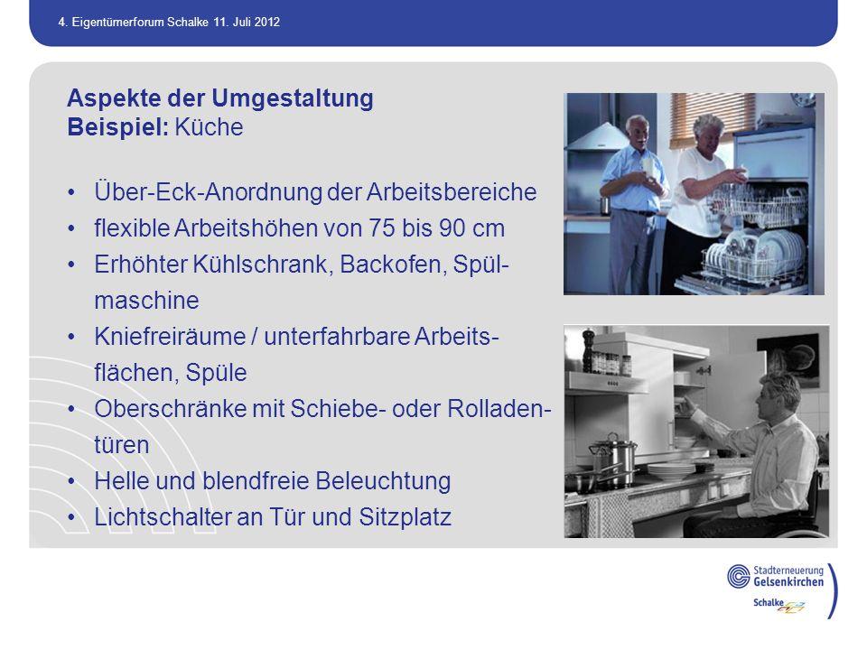 4. Eigentümerforum Schalke 11. Juli 2012 Aspekte der Umgestaltung Beispiel: Küche Über-Eck-Anordnung der Arbeitsbereiche flexible Arbeitshöhen von 75