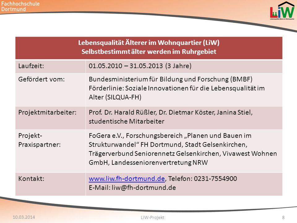 Lebensqualität Älterer im Wohnquartier (LiW) Selbstbestimmt älter werden im Ruhrgebiet Laufzeit:01.05.2010 – 31.05.2013 (3 Jahre) Gefördert vom:Bundes