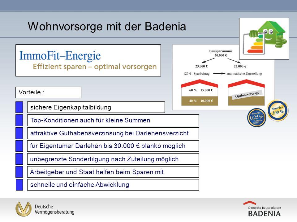 Umsetzung der Maßnahme durch Anpassung des Bausparvertrages natürlich auch früher möglich Wohnvorsorge mit der Badenia
