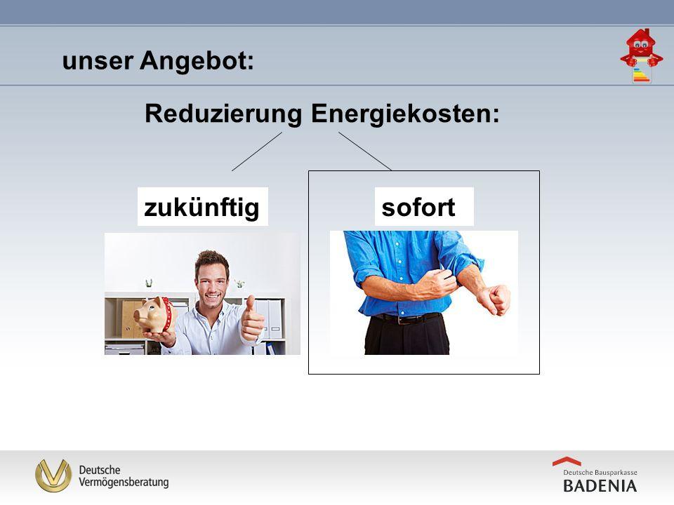 Reduzierung Energiekosten: sofort Kunde will konkrete Massnahmen durchführen......und benötigt eine Finanzierung