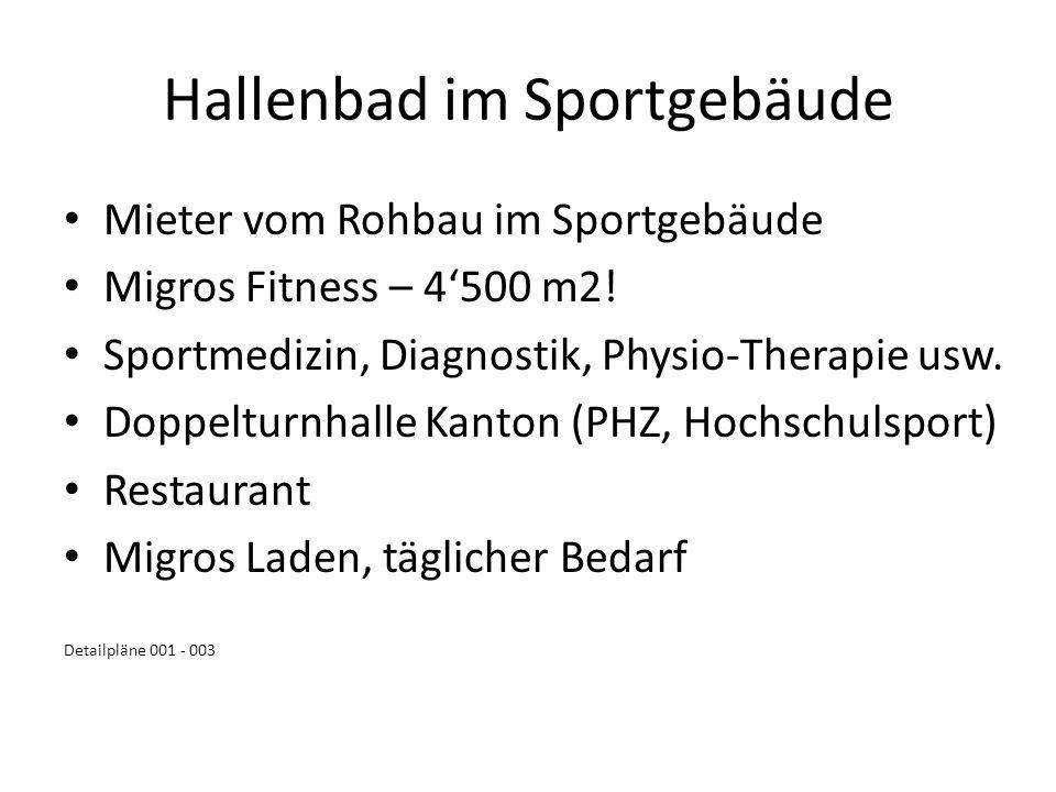 Hallenbad im Sportgebäude Mieter vom Rohbau im Sportgebäude Migros Fitness – 4500 m2! Sportmedizin, Diagnostik, Physio-Therapie usw. Doppelturnhalle K