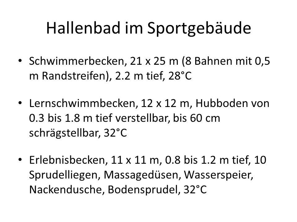 Hallenbad im Sportgebäude Springerbecken, 12 x 12 m, 3.8 m tief, 5 m Sprungturm, 3 m Sprungbrett, 1 m Sprungbrett, 28°C Rutschbahn Black-hole, 55 m lang, Rutschenlandebecken, 6 x 3 m, 0.4 m tief, 32°C Kinderplanschbecken, 4 x 7.5 m, 0 bis 0.4 m tief, Breitrutsche, Wasserpilz, Wasserigel, Spritzdüsen, 32°C 3 Badewasserkreisläufe, Mehrschichtfilter Mindestens 54 RGB - LED Unterwasserscheinwerfer