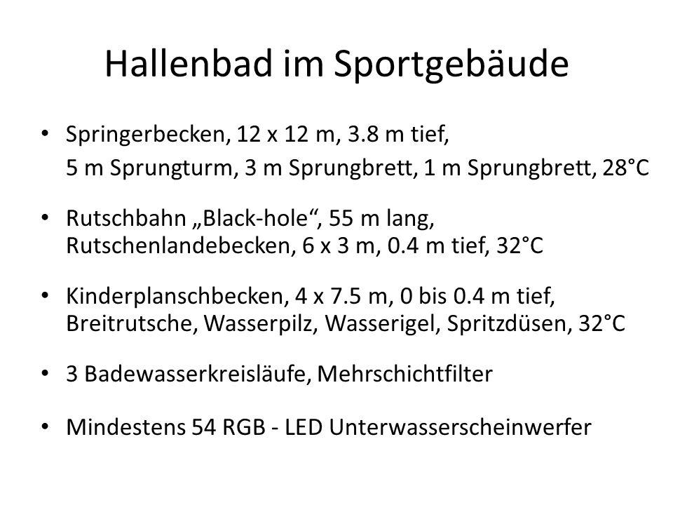 Hallenbad im Sportgebäude Springerbecken, 12 x 12 m, 3.8 m tief, 5 m Sprungturm, 3 m Sprungbrett, 1 m Sprungbrett, 28°C Rutschbahn Black-hole, 55 m la