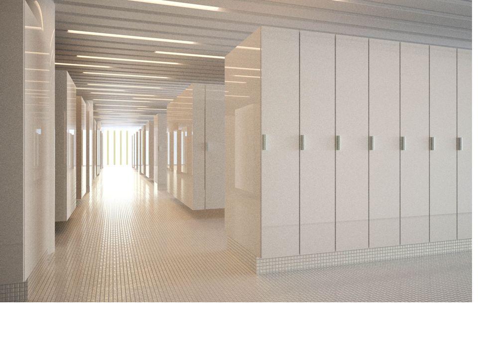 Hallenbad im Sportgebäude 380 Garderobenkästen (180 cm x 33 cm, 90 x 40 cm) 53 Durchschreite-Kojen (inkl.