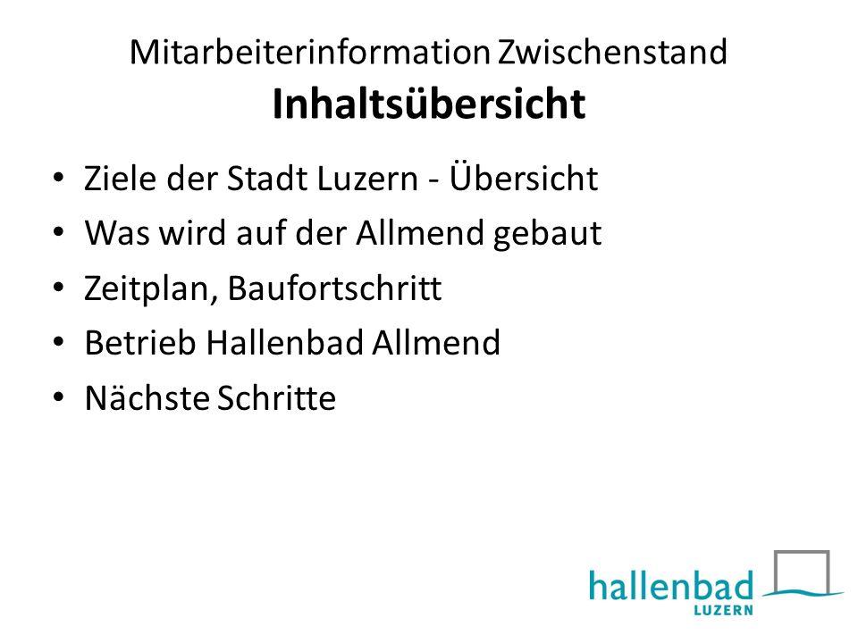 Mitarbeiterinformation Zwischenstand Inhaltsübersicht Ziele der Stadt Luzern - Übersicht Was wird auf der Allmend gebaut Zeitplan, Baufortschritt Betr