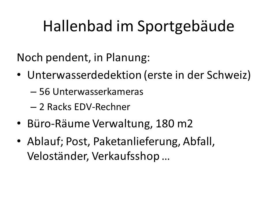 Hallenbad im Sportgebäude Noch pendent, in Planung: Unterwasserdedektion (erste in der Schweiz) – 56 Unterwasserkameras – 2 Racks EDV-Rechner Büro-Räu