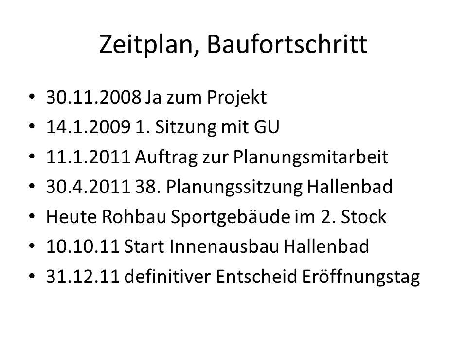 Zeitplan, Baufortschritt 30.11.2008 Ja zum Projekt 14.1.2009 1. Sitzung mit GU 11.1.2011 Auftrag zur Planungsmitarbeit 30.4.2011 38. Planungssitzung H