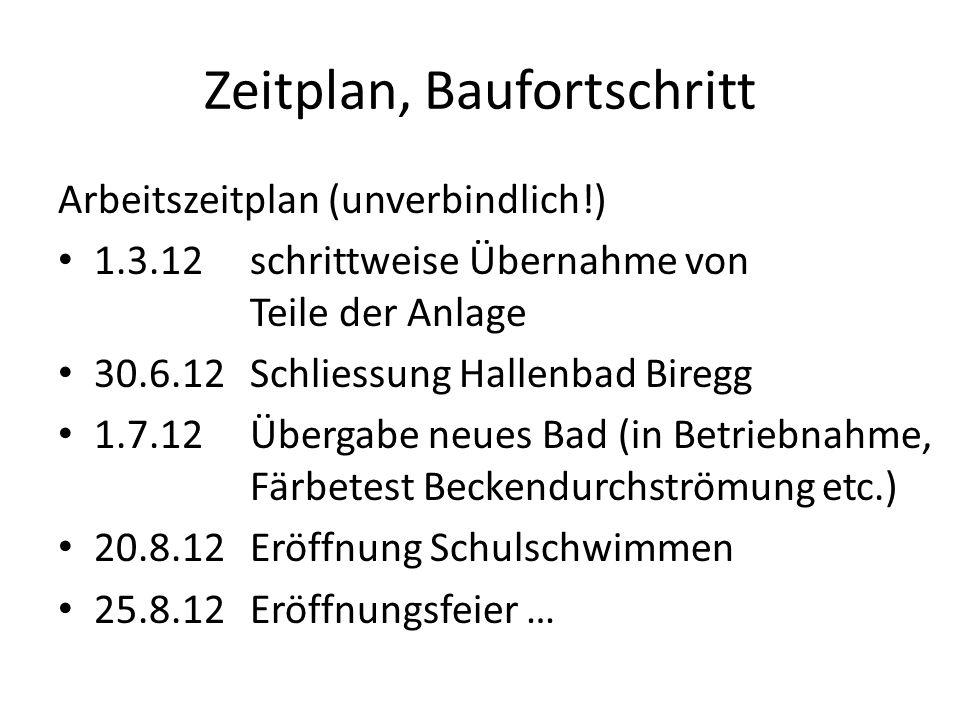 Zeitplan, Baufortschritt Arbeitszeitplan (unverbindlich!) 1.3.12 schrittweise Übernahme von Teile der Anlage 30.6.12Schliessung Hallenbad Biregg 1.7.1