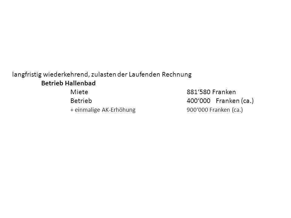 langfristig wiederkehrend, zulasten der Laufenden Rechnung Betrieb Hallenbad Miete881580 Franken Betrieb400000Franken (ca.) + einmalige AK-Erhöhung 90