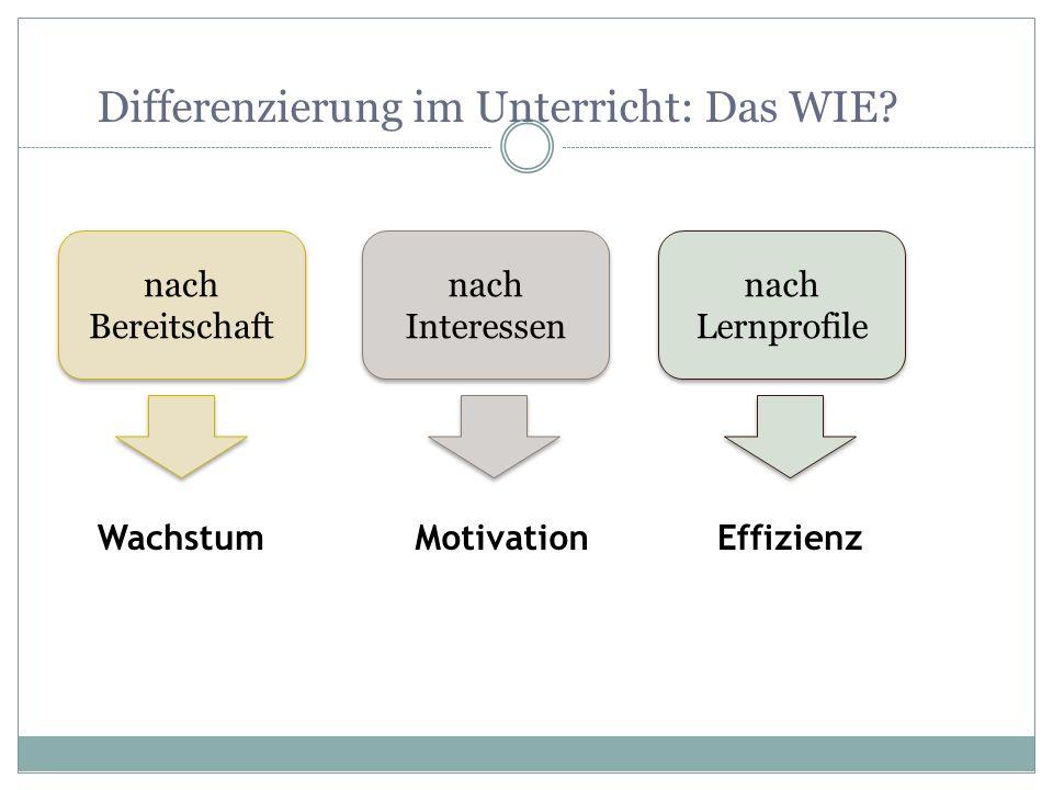 Differenzierung im Unterricht: Das WIE? nach Bereitschaft nach Interessen nach Lernprofile WachstumMotivationEffizienz