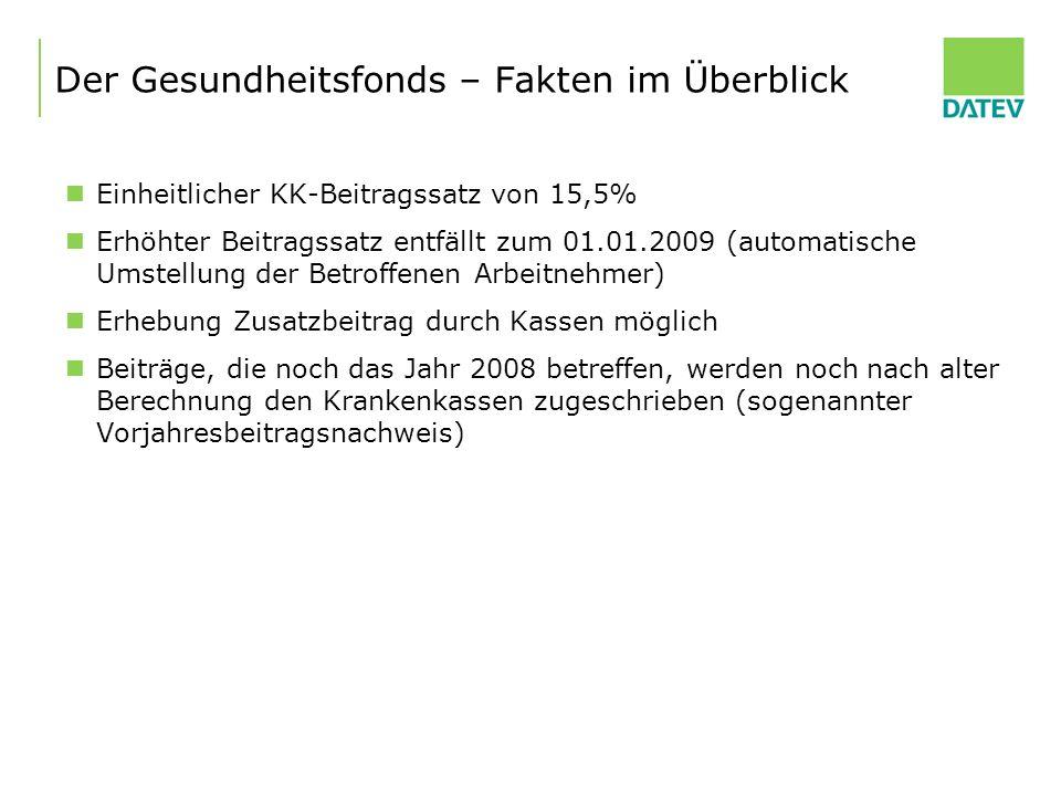 Der Gesundheitsfonds – Fakten im Überblick Einheitlicher KK-Beitragssatz von 15,5% Erhöhter Beitragssatz entfällt zum 01.01.2009 (automatische Umstell