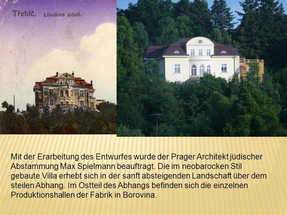 Mit der Erarbeitung des Entwurfes wurde der Prager Architekt jüdischer Abstammung Max Spielmann beauftragt. Die im neobarocken Stil gebaute Villa erhe
