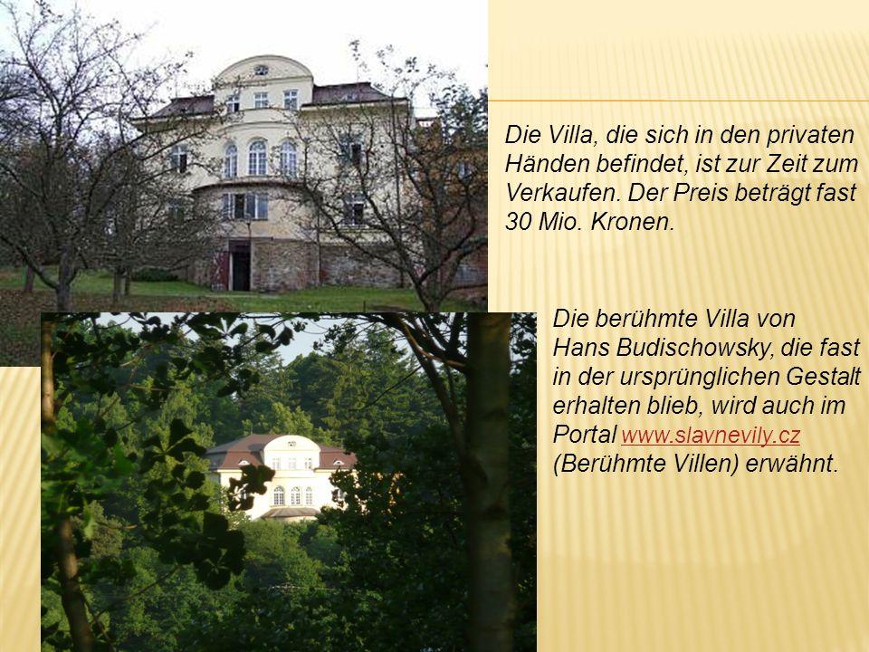 Die Villa, die sich in den privaten Händen befindet, ist zur Zeit zum Verkaufen. Der Preis beträgt fast 30 Mio. Kronen. Die berühmte Villa von Hans Bu