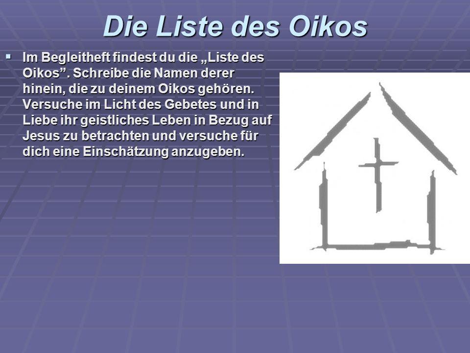 Die Liste des Oikos Im Begleitheft findest du die Liste des Oikos. Schreibe die Namen derer hinein, die zu deinem Oikos gehören. Versuche im Licht des