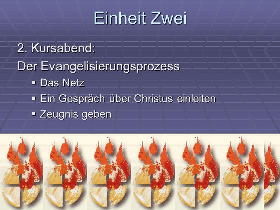 Einheit Zwei 2. Kursabend: Der Evangelisierungsprozess Das Netz Das Netz Ein Gespräch über Christus einleiten Ein Gespräch über Christus einleiten Zeu