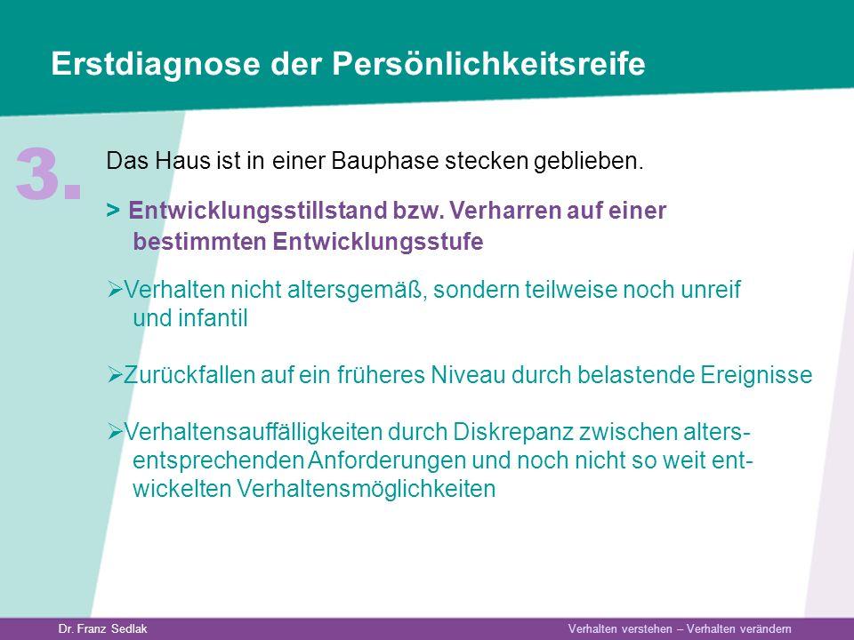Dr. Franz Sedlak Verhalten verstehen – Verhalten verändern Erstdiagnose der Persönlichkeitsreife Das Haus ist in einer Bauphase stecken geblieben. > E