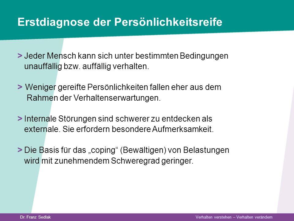 Dr. Franz Sedlak Verhalten verstehen – Verhalten verändern Erstdiagnose der Persönlichkeitsreife > Jeder Mensch kann sich unter bestimmten Bedingungen
