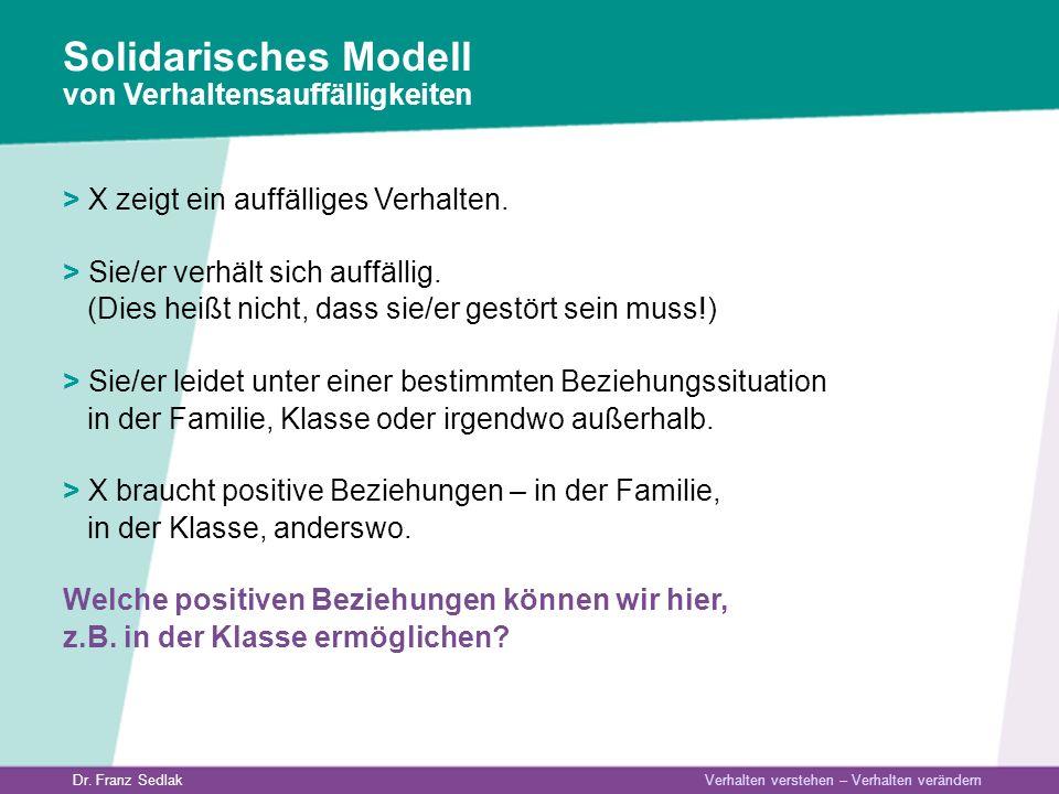 Dr. Franz Sedlak Verhalten verstehen – Verhalten verändern > X zeigt ein auffälliges Verhalten. > Sie/er verhält sich auffällig. (Dies heißt nicht, da