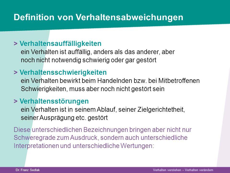 Dr. Franz Sedlak Verhalten verstehen – Verhalten verändern Definition von Verhaltensabweichungen > Verhaltensauffälligkeiten ein Verhalten ist auffäll