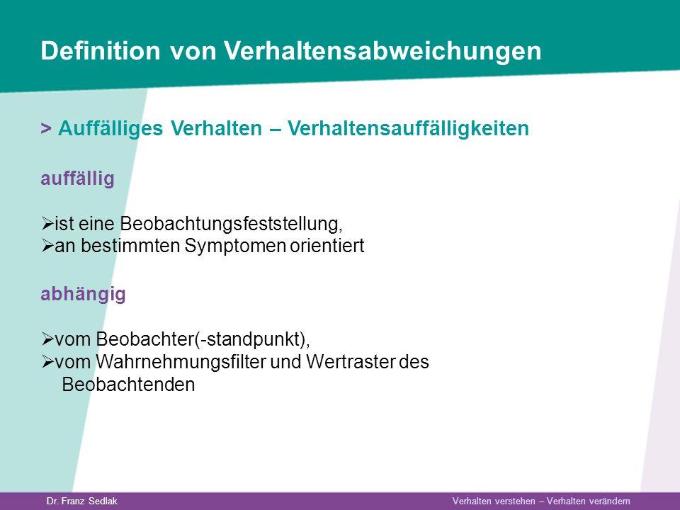 Dr. Franz Sedlak Verhalten verstehen – Verhalten verändern Definition von Verhaltensabweichungen > Auffälliges Verhalten – Verhaltensauffälligkeiten a