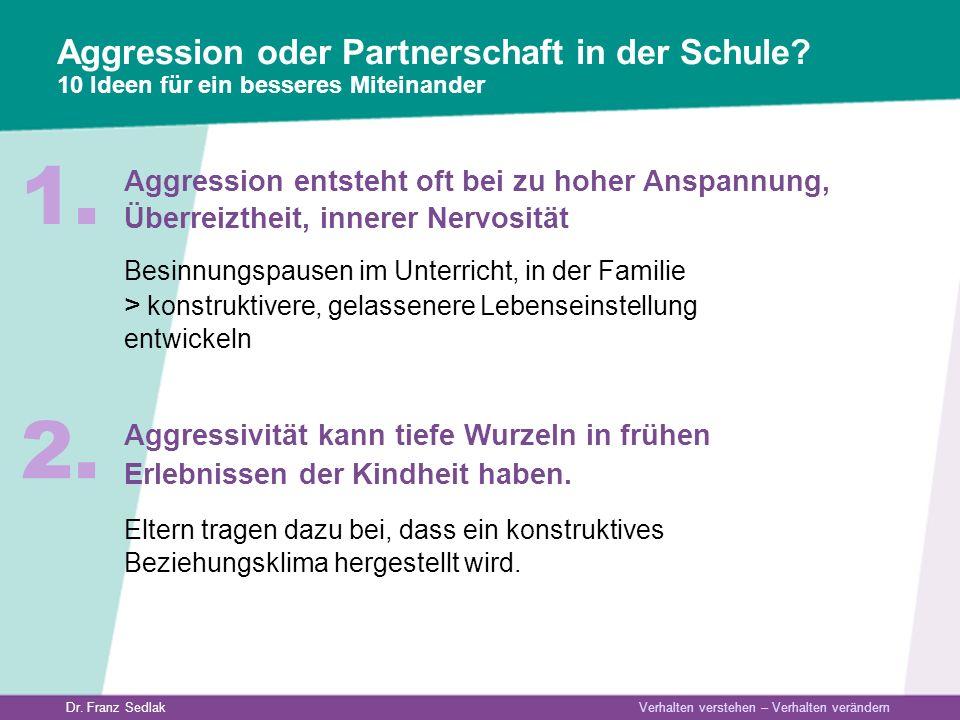 Dr. Franz Sedlak Verhalten verstehen – Verhalten verändern Aggression oder Partnerschaft in der Schule? 10 Ideen für ein besseres Miteinander Aggressi