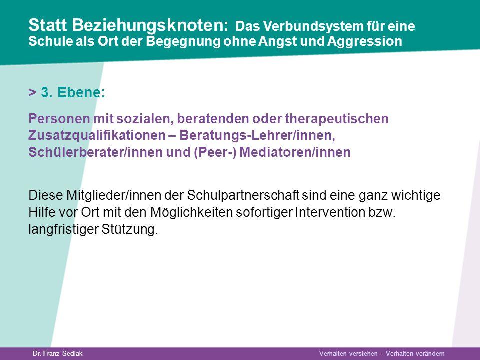 Dr. Franz Sedlak Verhalten verstehen – Verhalten verändern > 3. Ebene: Personen mit sozialen, beratenden oder therapeutischen Zusatzqualifikationen –