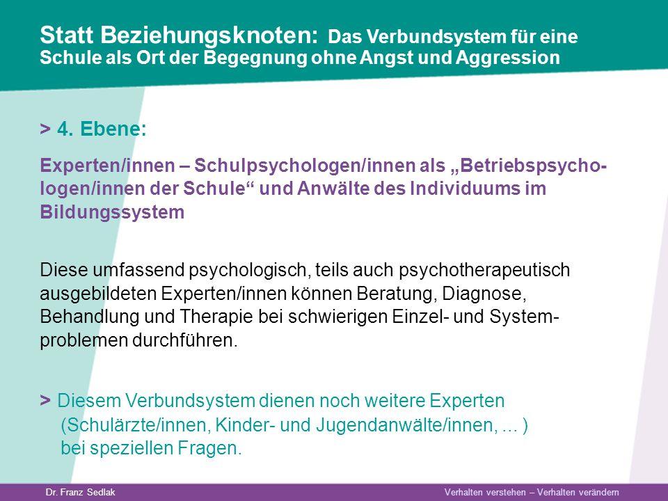 Dr. Franz Sedlak Verhalten verstehen – Verhalten verändern > 4. Ebene: Experten/innen – Schulpsychologen/innen als Betriebspsycho- logen/innen der Sch