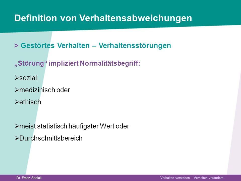 Dr. Franz Sedlak Verhalten verstehen – Verhalten verändern Definition von Verhaltensabweichungen > Gestörtes Verhalten – Verhaltensstörungen Störung i