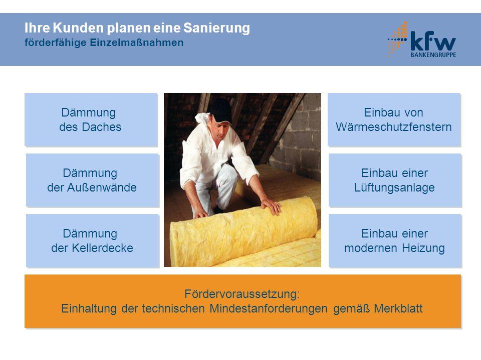 Ihre Kunden planen eine Sanierung förderfähige Einzelmaßnahmen Dämmung der Kellerdecke Dämmung der Kellerdecke Einbau einer modernen Heizung Einbau ei