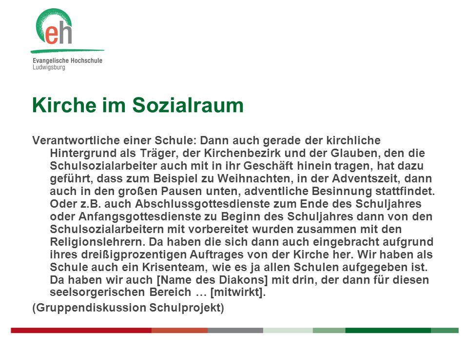 Kirche im Sozialraum Verantwortliche einer Schule: Dann auch gerade der kirchliche Hintergrund als Träger, der Kirchenbezirk und der Glauben, den die
