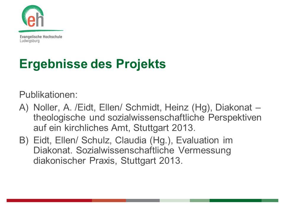 Ergebnisse des Projekts Publikationen: A)Noller, A. /Eidt, Ellen/ Schmidt, Heinz (Hg), Diakonat – theologische und sozialwissenschaftliche Perspektive