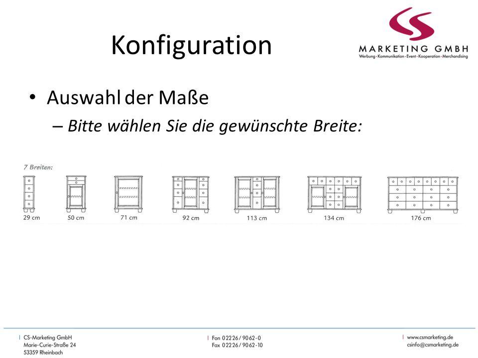 Konfiguration Auswahl der Maße – Bitte wählen Sie die gewünschte Breite: