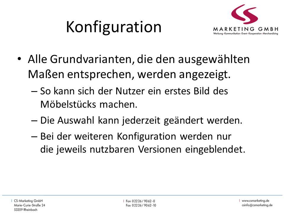 Konfiguration Alle Grundvarianten, die den ausgewählten Maßen entsprechen, werden angezeigt.