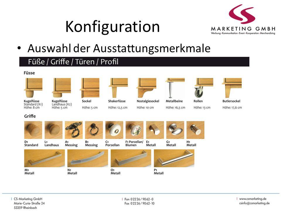 Konfiguration Auswahl der Ausstattungsmerkmale