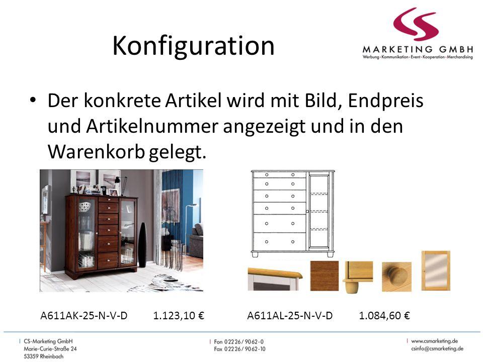 Konfiguration Der konkrete Artikel wird mit Bild, Endpreis und Artikelnummer angezeigt und in den Warenkorb gelegt.