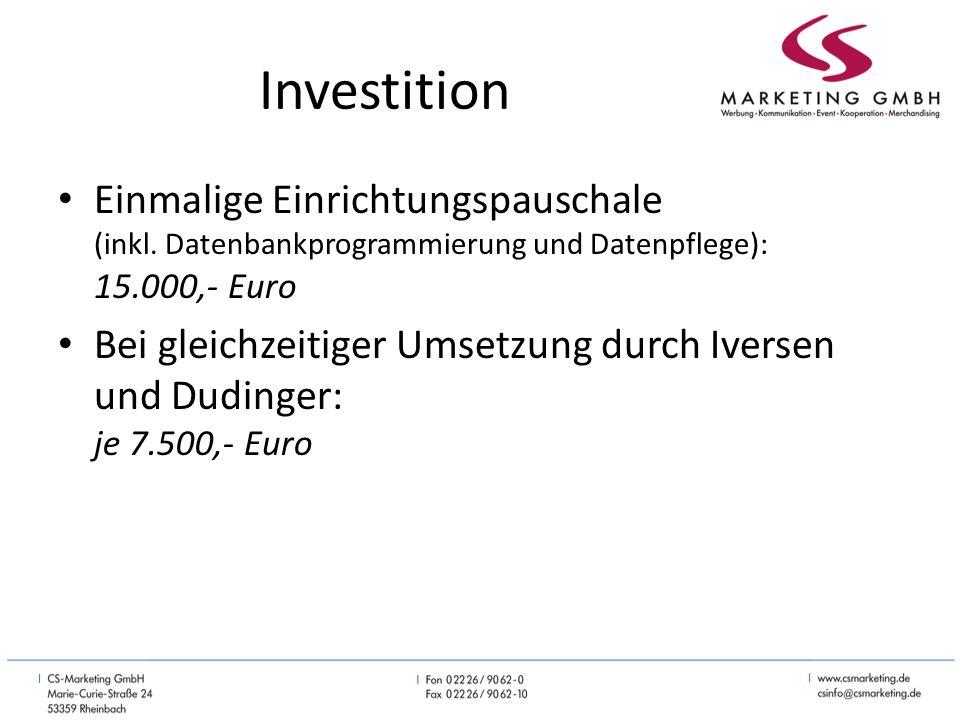 Investition Einmalige Einrichtungspauschale (inkl.