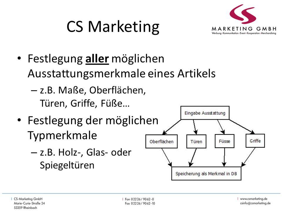 CS Marketing Festlegung aller möglichen Ausstattungsmerkmale eines Artikels – z.B.