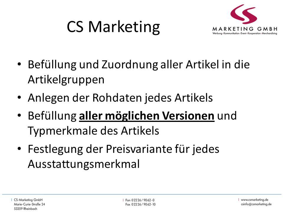 CS Marketing Schema zur Anlage der Artikel bei Iversen