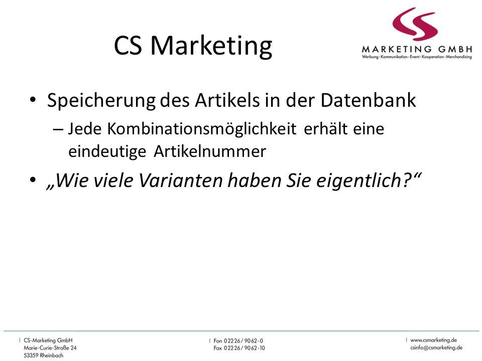 CS Marketing Alle Artikel sind für den Benutzer der Datenbank sichtbar, konfigurierbar und bestellbar Preissicherheit für den Lieferanten – Die Preise sind im Möbelkonfigurator vorgeben.