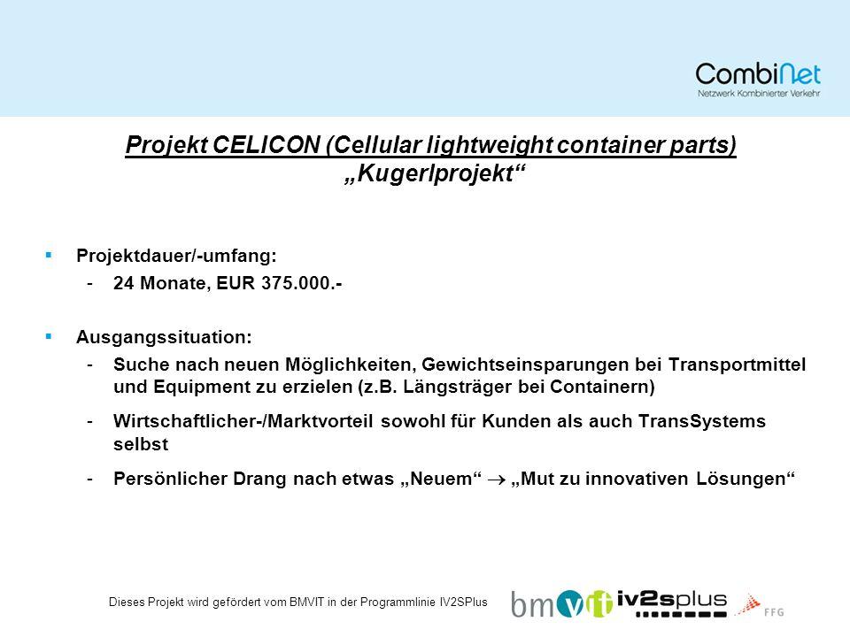 Projekt CELICON (Cellular lightweight container parts) Kugerlprojekt Projektdauer/-umfang: -24 Monate, EUR 375.000.- Ausgangssituation: -Suche nach neuen Möglichkeiten, Gewichtseinsparungen bei Transportmittel und Equipment zu erzielen (z.B.
