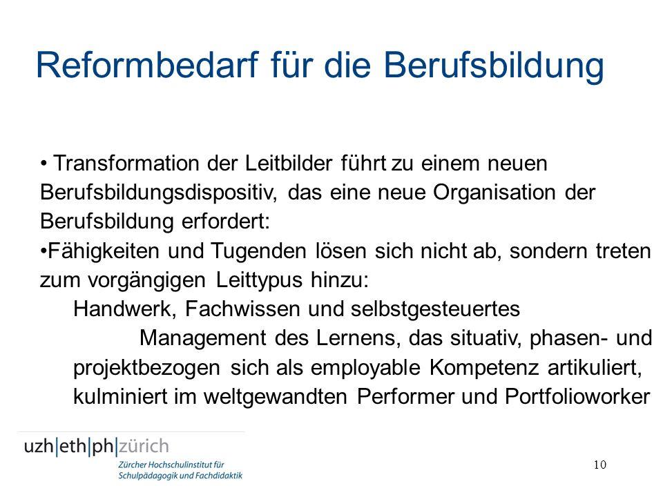 10 Reformbedarf für die Berufsbildung Transformation der Leitbilder führt zu einem neuen Berufsbildungsdispositiv, das eine neue Organisation der Beru