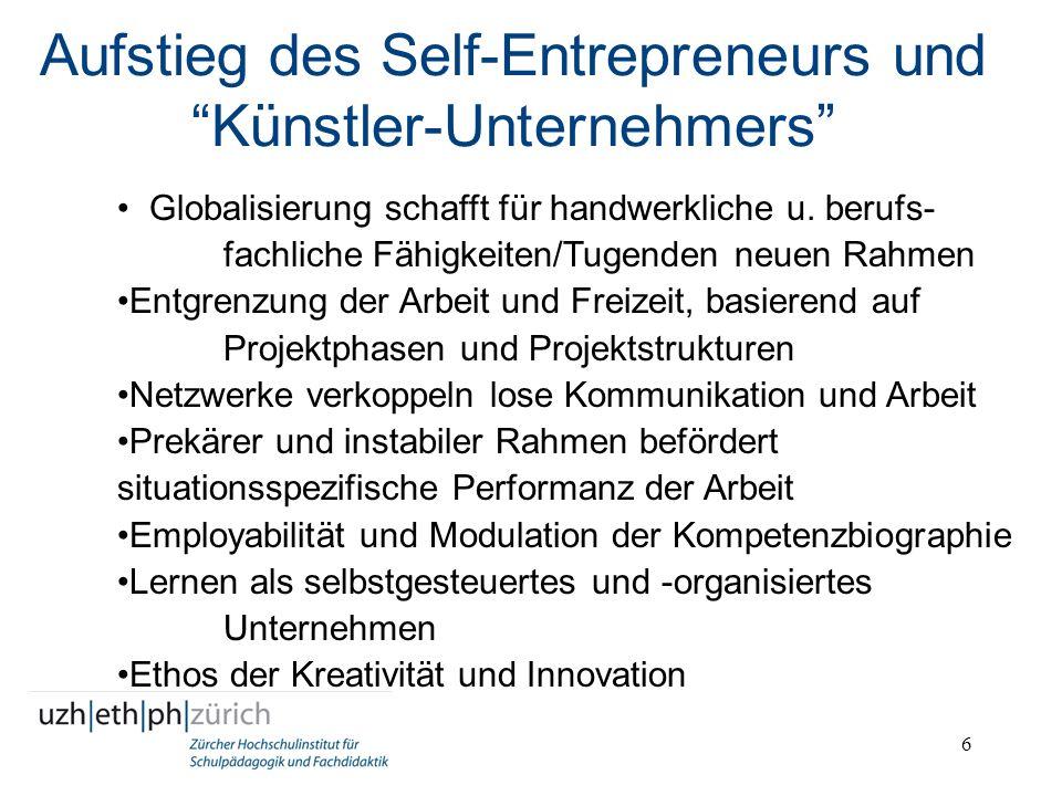 6 Aufstieg des Self-Entrepreneurs und Künstler-Unternehmers Globalisierung schafft für handwerkliche u. berufs- fachliche Fähigkeiten/Tugenden neuen R