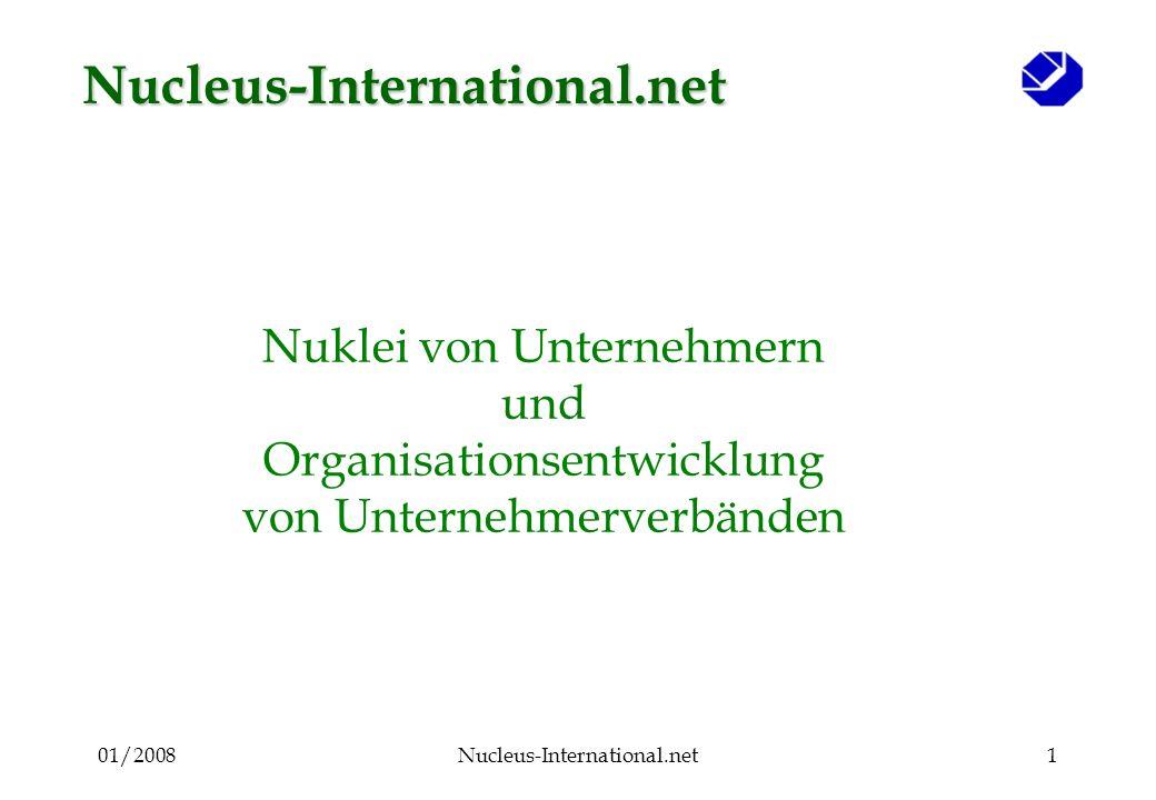 01/2008Nucleus-International.net41 Der Nukleus zielt in zwei Richtungen a)Intern : um Ideen und Aktivitäten zur Verbesserung der Unternehmen zu stimulieren Berater KMU KMU Unternehmen Der Nukleus hat Servicecharacter