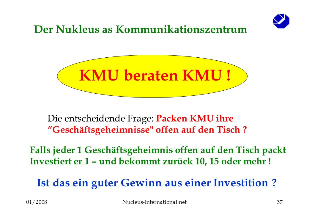 01/2008Nucleus-International.net36 Der Nukleus as Kommunikationszentrum KMU beraten KMU .