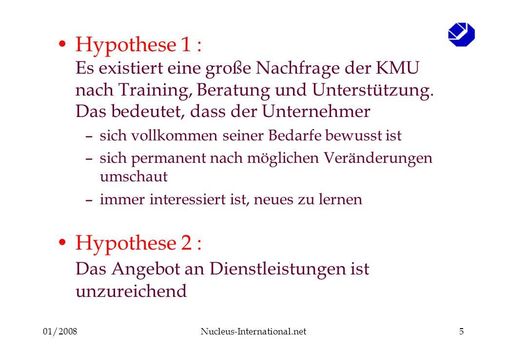 01/2008Nucleus-International.net5 Hypothese 1 : Es existiert eine große Nachfrage der KMU nach Training, Beratung und Unterstützung.